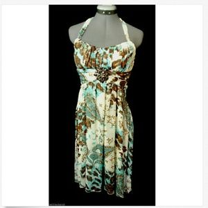 RUBY ROX Dress 9 Halter empire Blue Brown floral